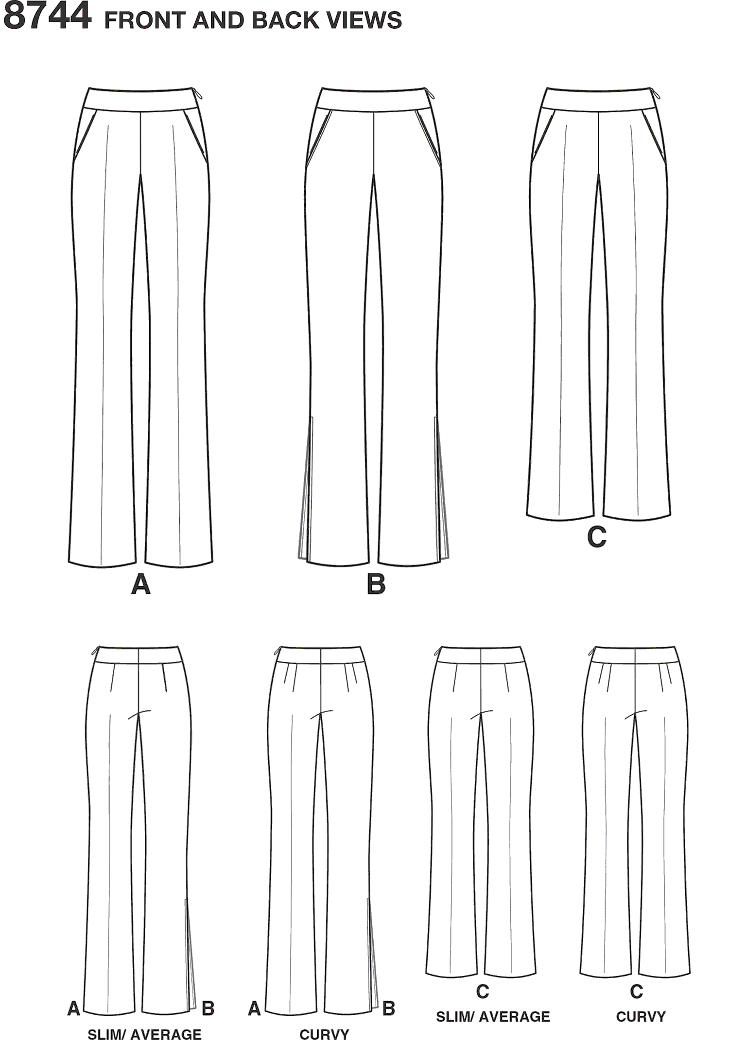 Simplicity Pattern 8744 Womens Plus SizeAmazing Fit Trousers Line Art From Patternsandplains.com