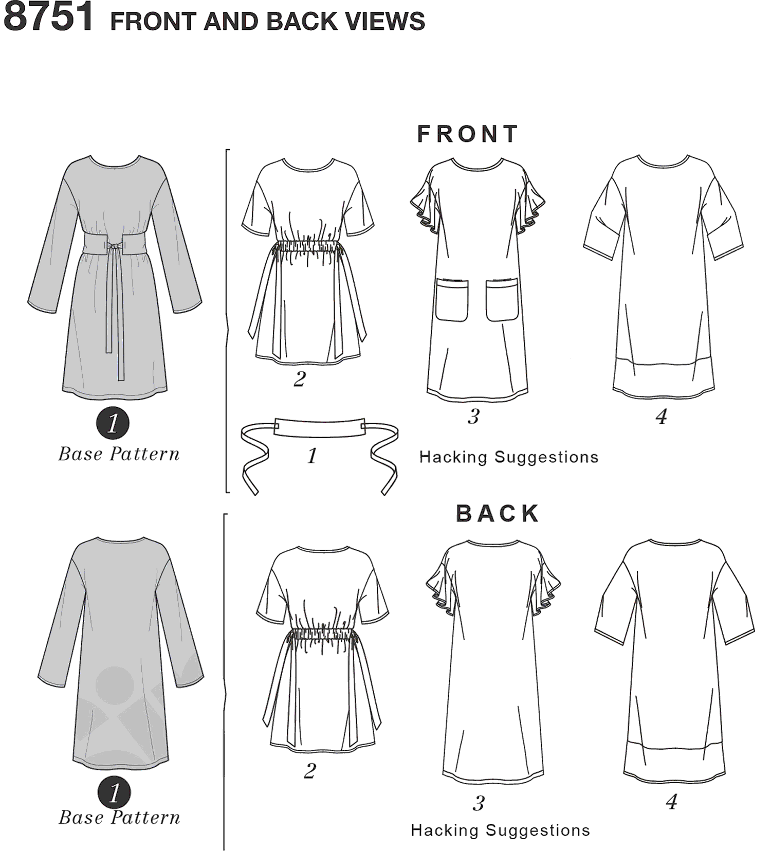 Simplicity Pattern 8751 Womens Dress with Options for Design Hacking Line Art From Patternsandplains.com
