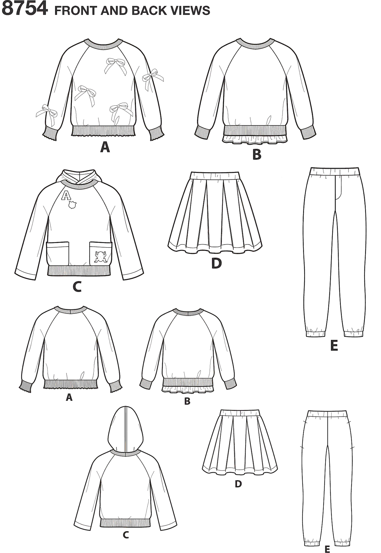 Simplicity Pattern 8754 Childs Trousers Skirt and Sweatshirts Line Art From Patternsandplains.com