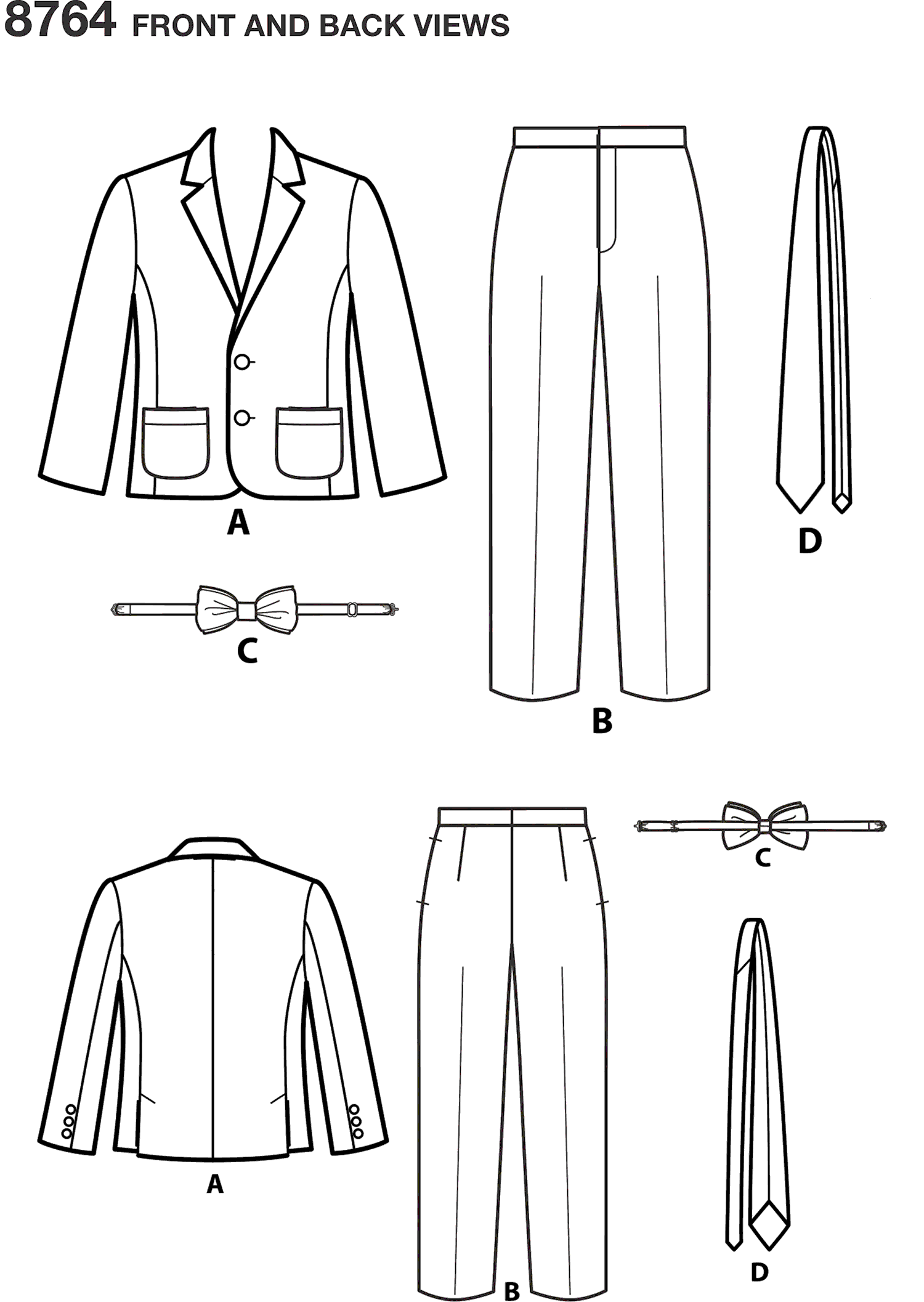 Simplicity Pattern 8764 Boys Suit and Ties Line Art From Patternsandplains.com
