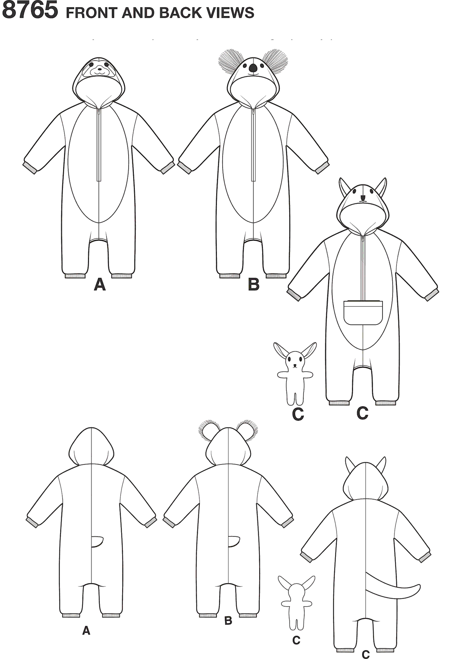 Simplicity Pattern 8765 Toddlers Costumes Line Art From Patternsandplains.com