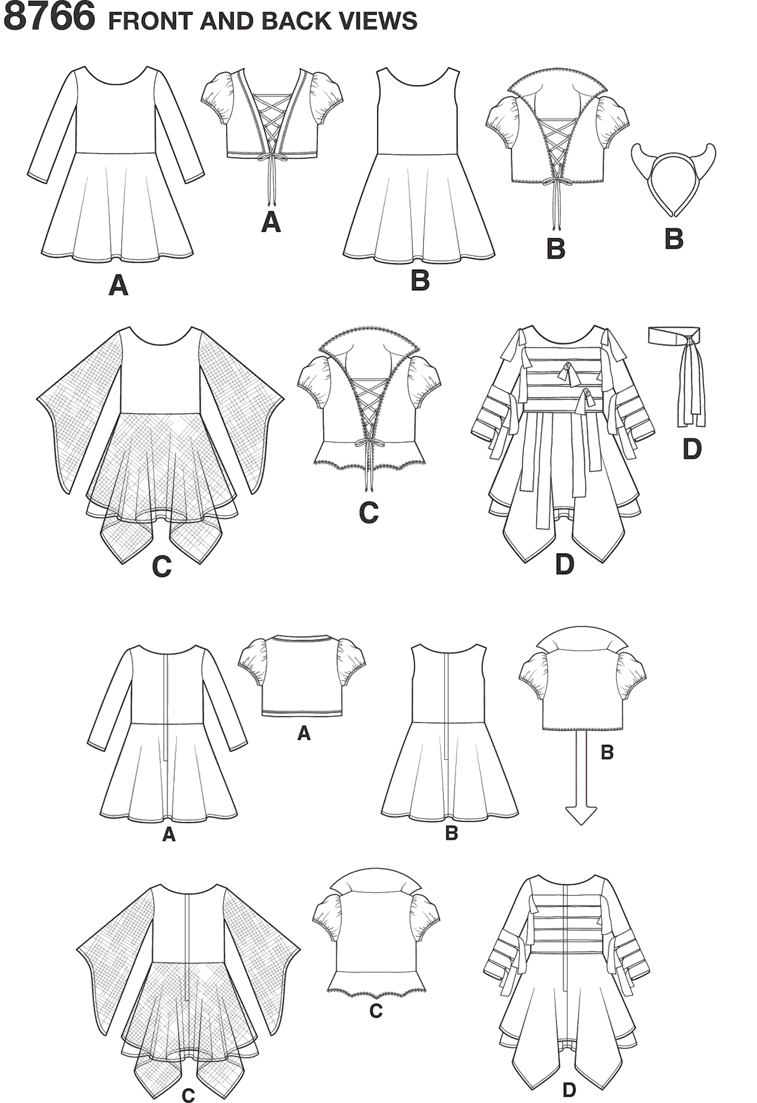 Simplicity Pattern 8766  Childs Costumes Line Art From Patternsandplains.com