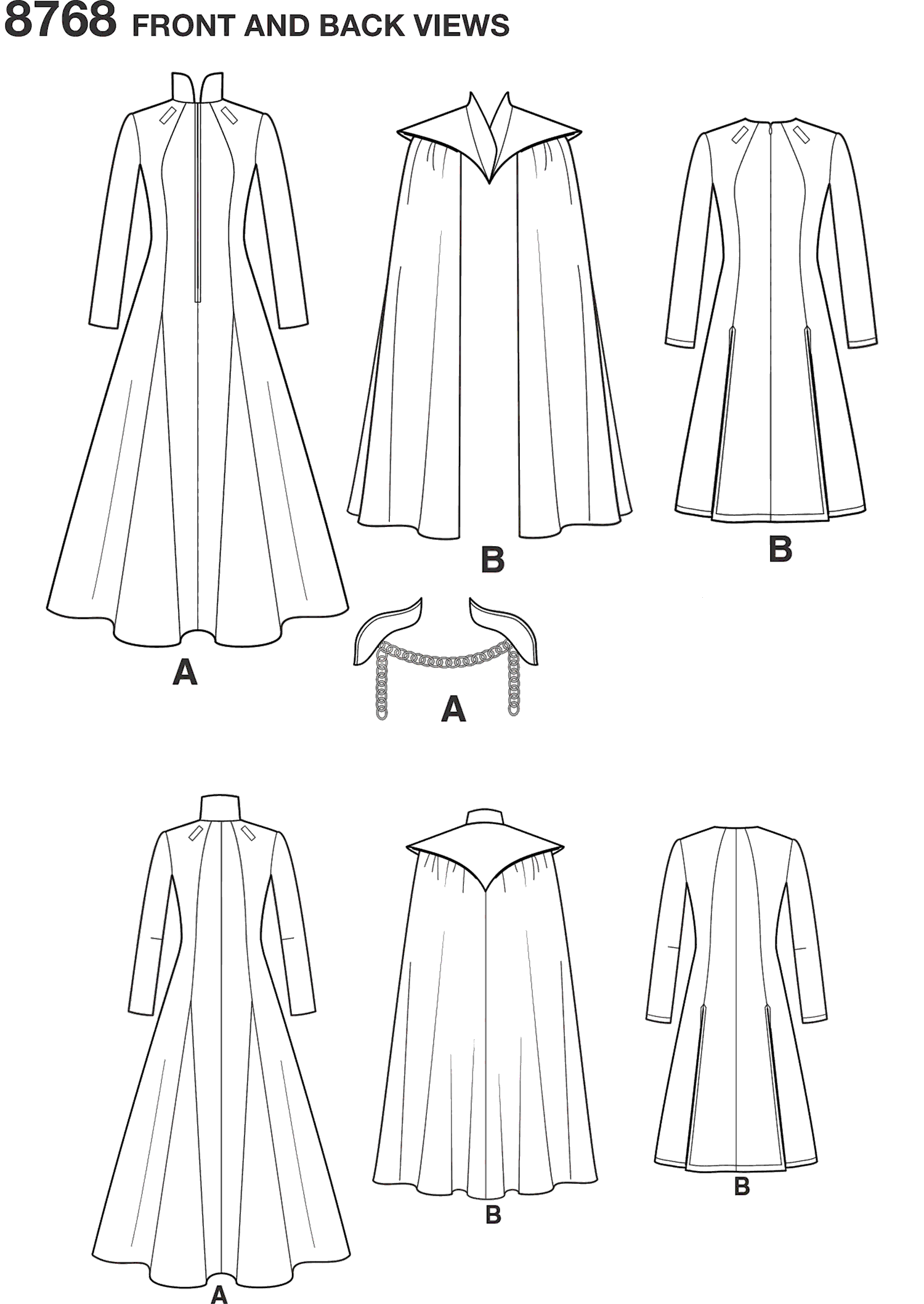 Simplicity Pattern 8768 Womens Fantasy Costumes Line Art From Patternsandplains.com