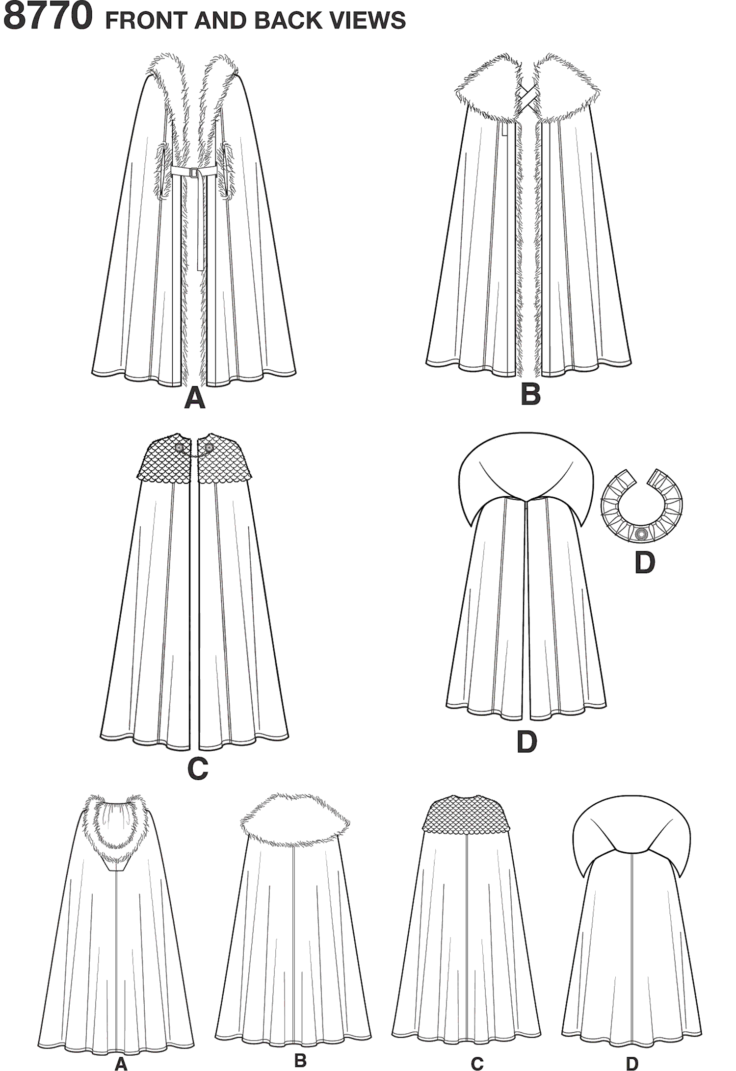 Simplicity Pattern 8770 Unisex Costume Capes Line Art From Patternsandplains.com