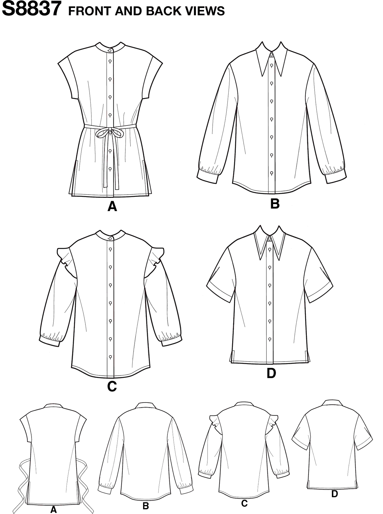 Simplicity Pattern S8837 Misses Miss Petite Collared Shirt 8837 Line Art From Patternsandplains.com