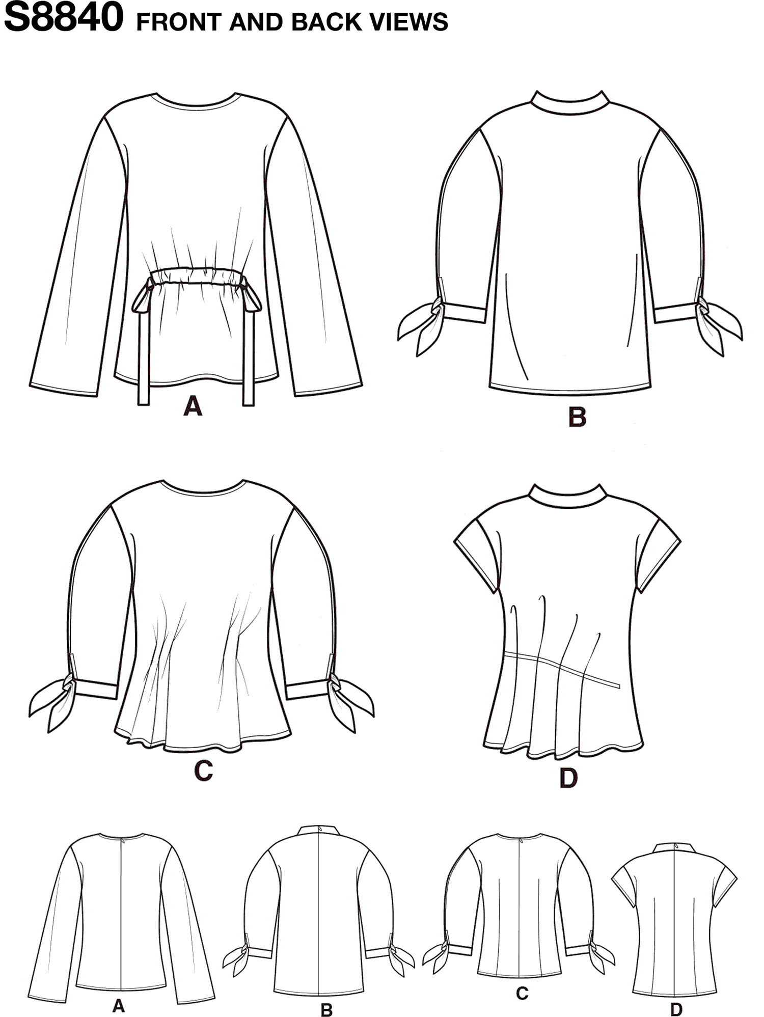 Simplicity Pattern S8840 Misses Top with Length Front and Sleeve Variations 8840 Line Art From Patternsandplains.com