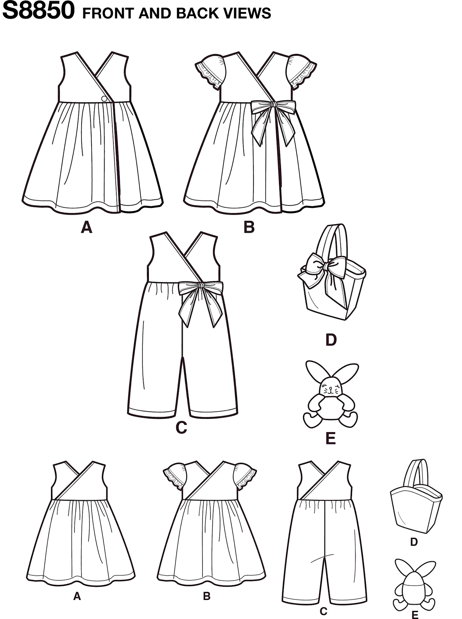 Simplicity Pattern S8850 Toddlers Dress Jumpsuit Basket and Toy 8850 Line Art From Patternsandplains.com