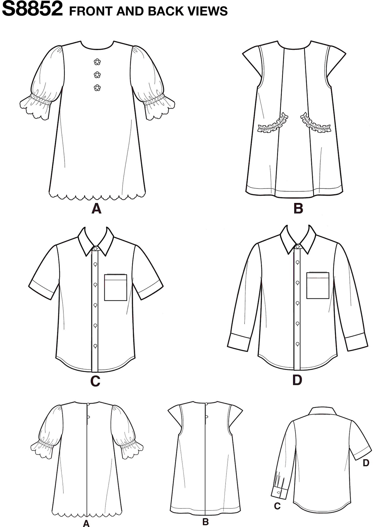 Simplicity Pattern S8852 Childs Dresses and Shirt 8852 Line Art From Patternsandplains.com