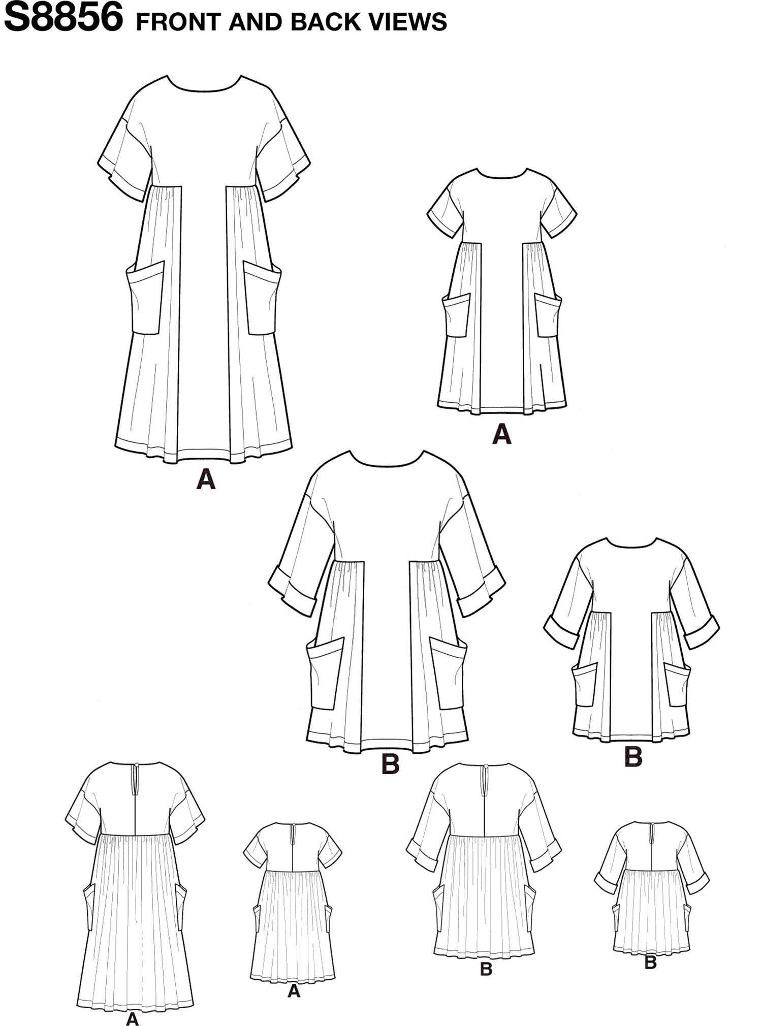 Simplicity Pattern S8856  Childs and Misses Dress and Tunic 8856 Line Art From Patternsandplains.com