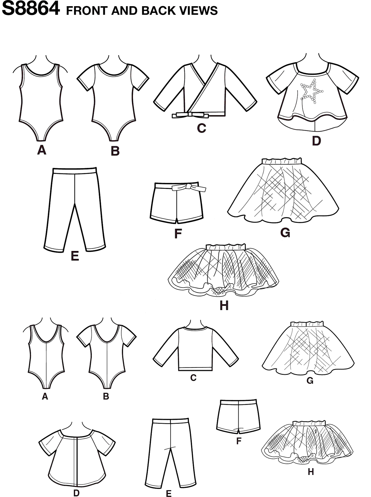 Simplicity Pattern S8864 American Girl 18 Doll Clothes 8864 Line Art From Patternsandplains.com