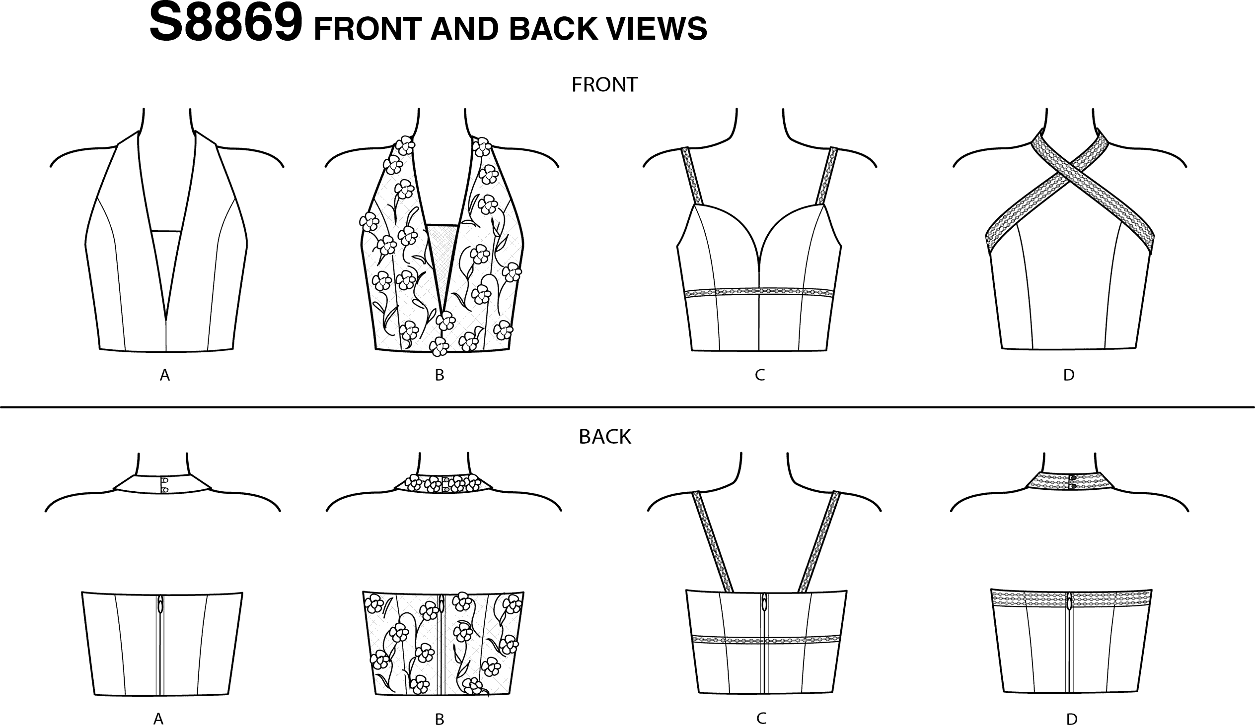 Simplicity Sewing Pattern S8869 Misses Lined Tops 8869 Line Art From Patternsandplains.com