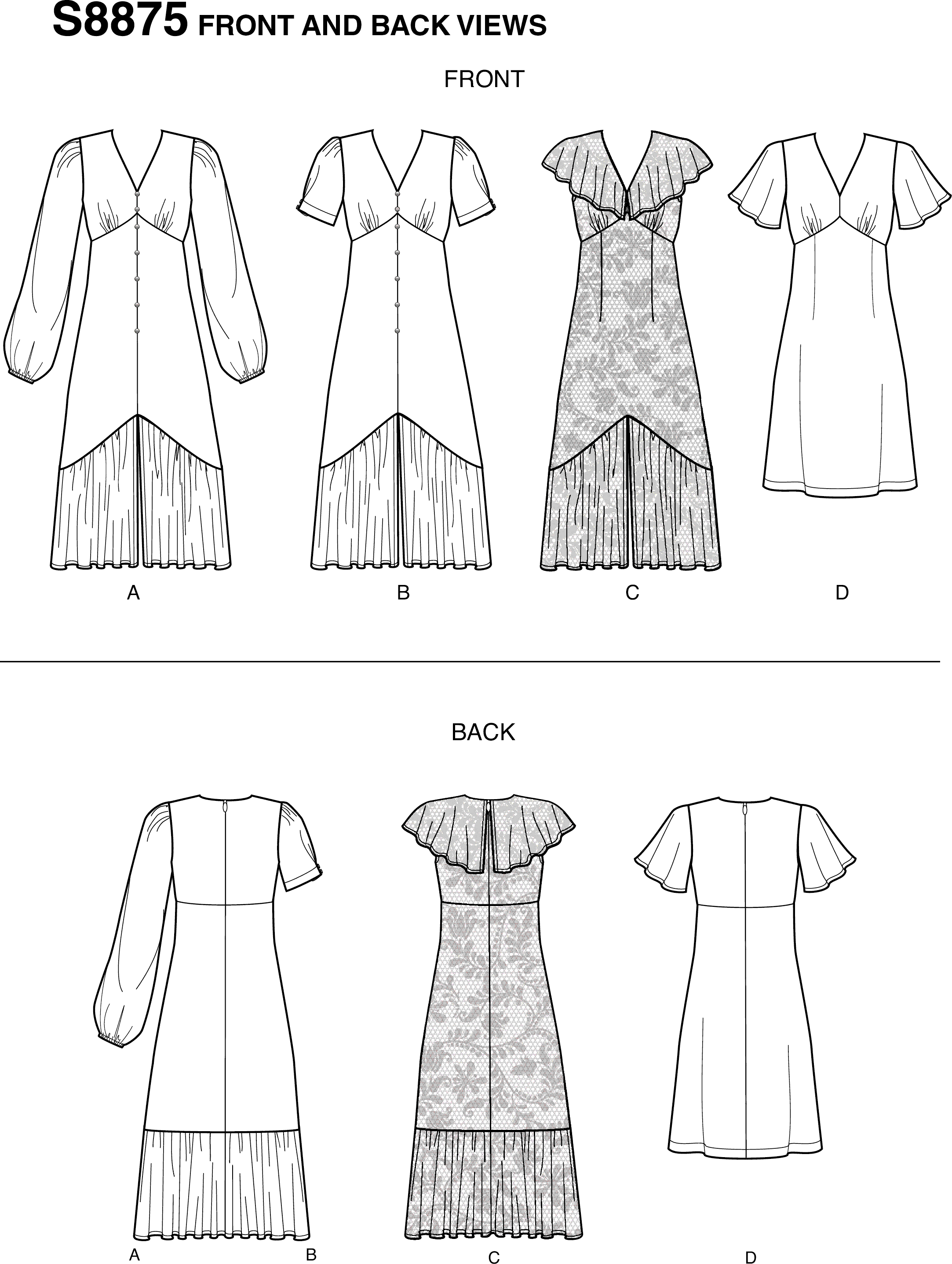 Simplicity Sewing Pattern S8875 Misses Dresses 8875 Line Art From Patternsandplains.com