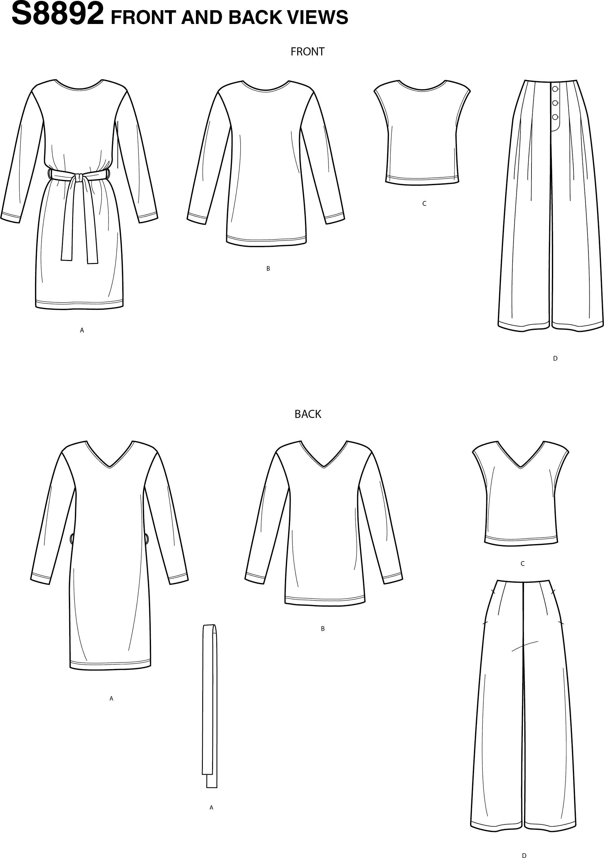 Simplicity Sewing Pattern S8892 Misses Casual Sportswear 8892 Line Art From Patternsandplains.com
