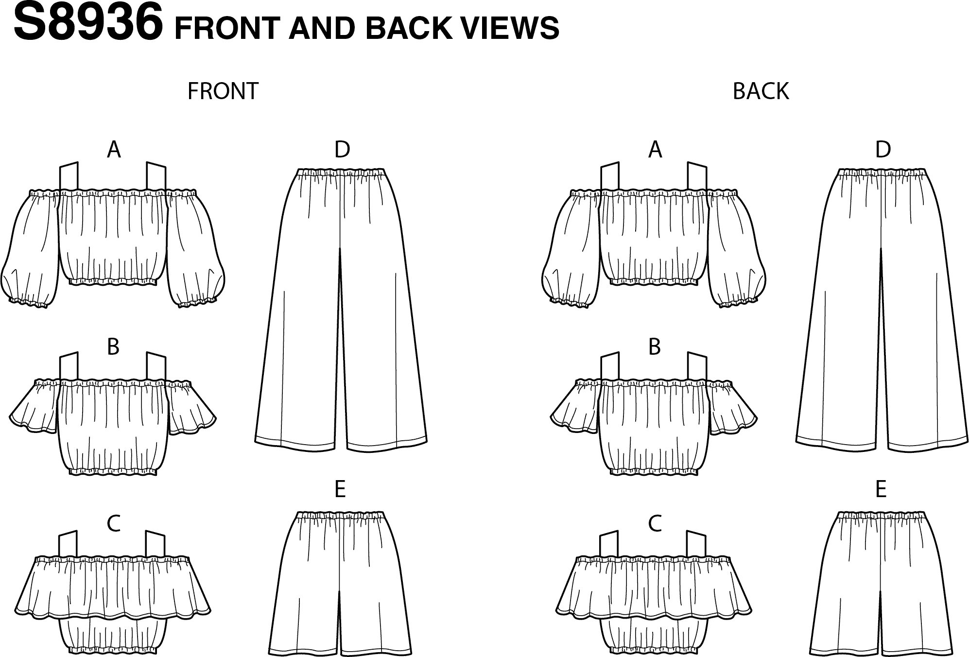 Simplicity Sewing Pattern S8936 Childrens and Girls Tops Pants and Shorts 8936 Line Art From Patternsandplains.com