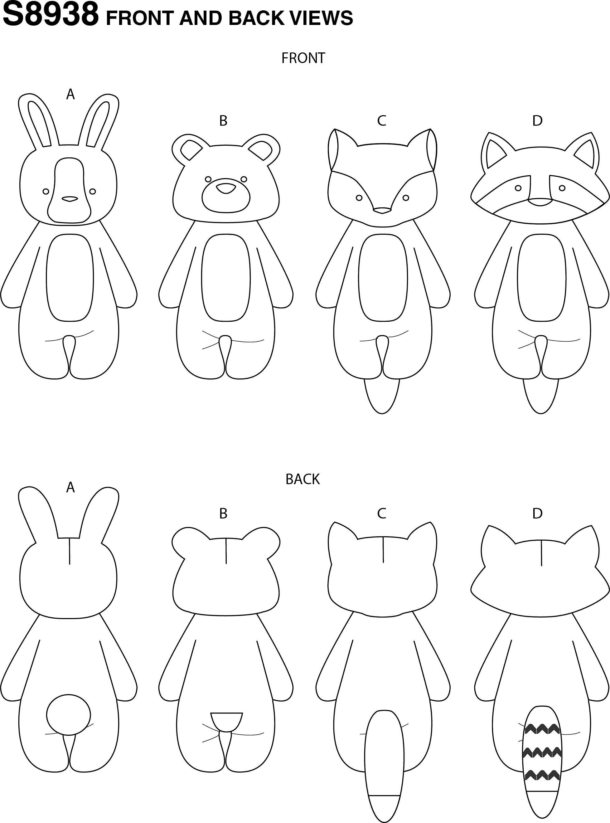Simplicity Sewing Pattern S8938 Stuffed Animals 8938 Line Art From Patternsandplains.com