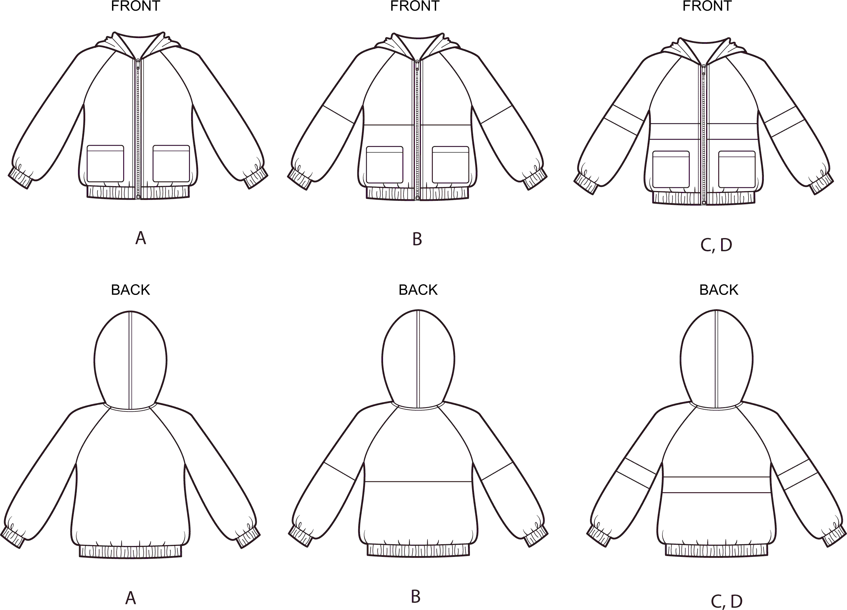 Simplicity Sewing Pattern S8999 Childrens and Girls Knit Hooded Jacket 8999 Line Art From Patternsandplains.com
