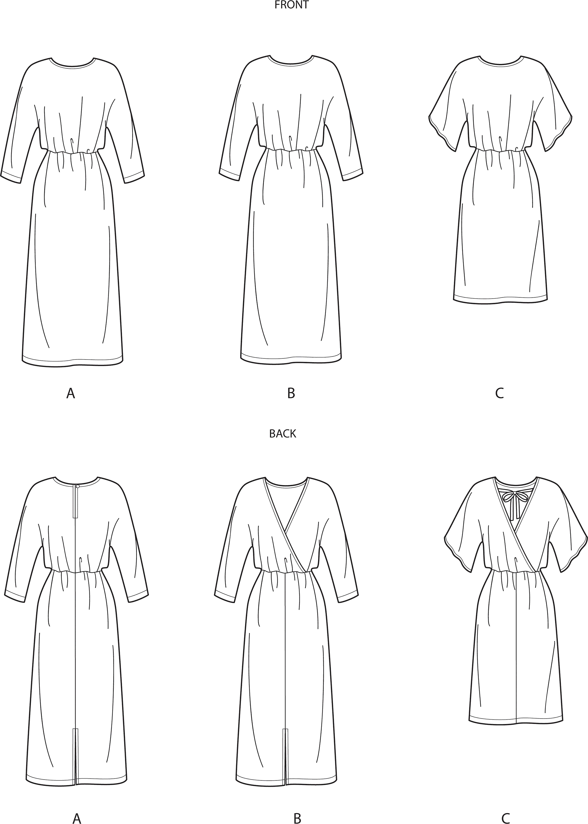 Simplicity Sewing Pattern S9010 Misses Dresses with Length Variation 9010 Line Art From Patternsandplains.com
