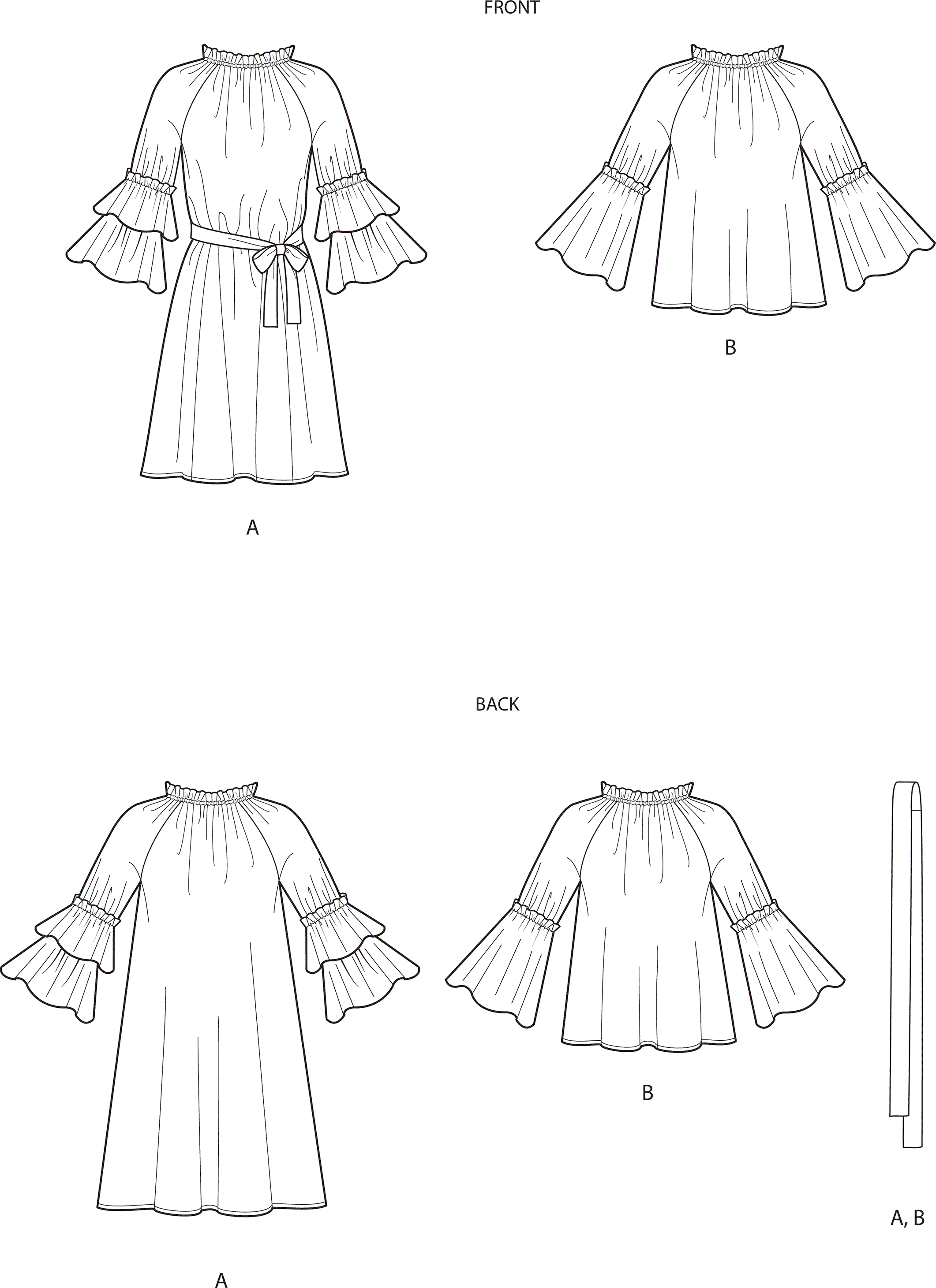 Simplicity Sewing Pattern S9012 Misses Dresses or Top and Belt 9012 Line Art From Patternsandplains.com