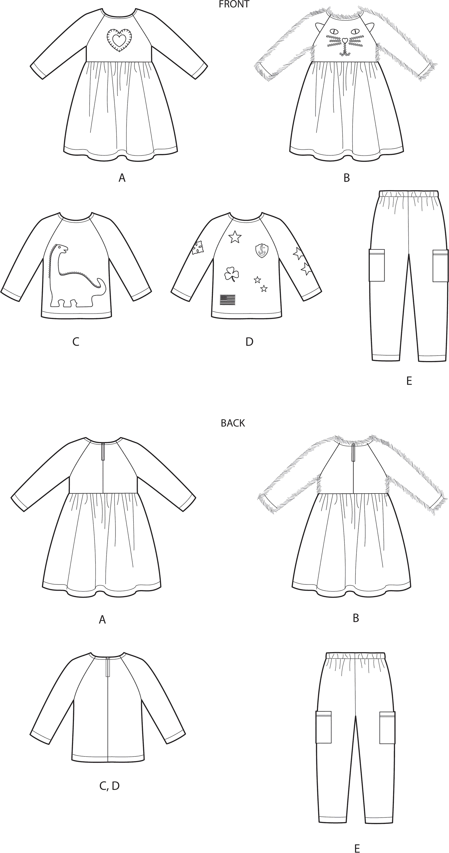 Simplicity Sewing Pattern S9023 Toddlers Dresses Top and Pants 9023 Line Art From Patternsandplains.com