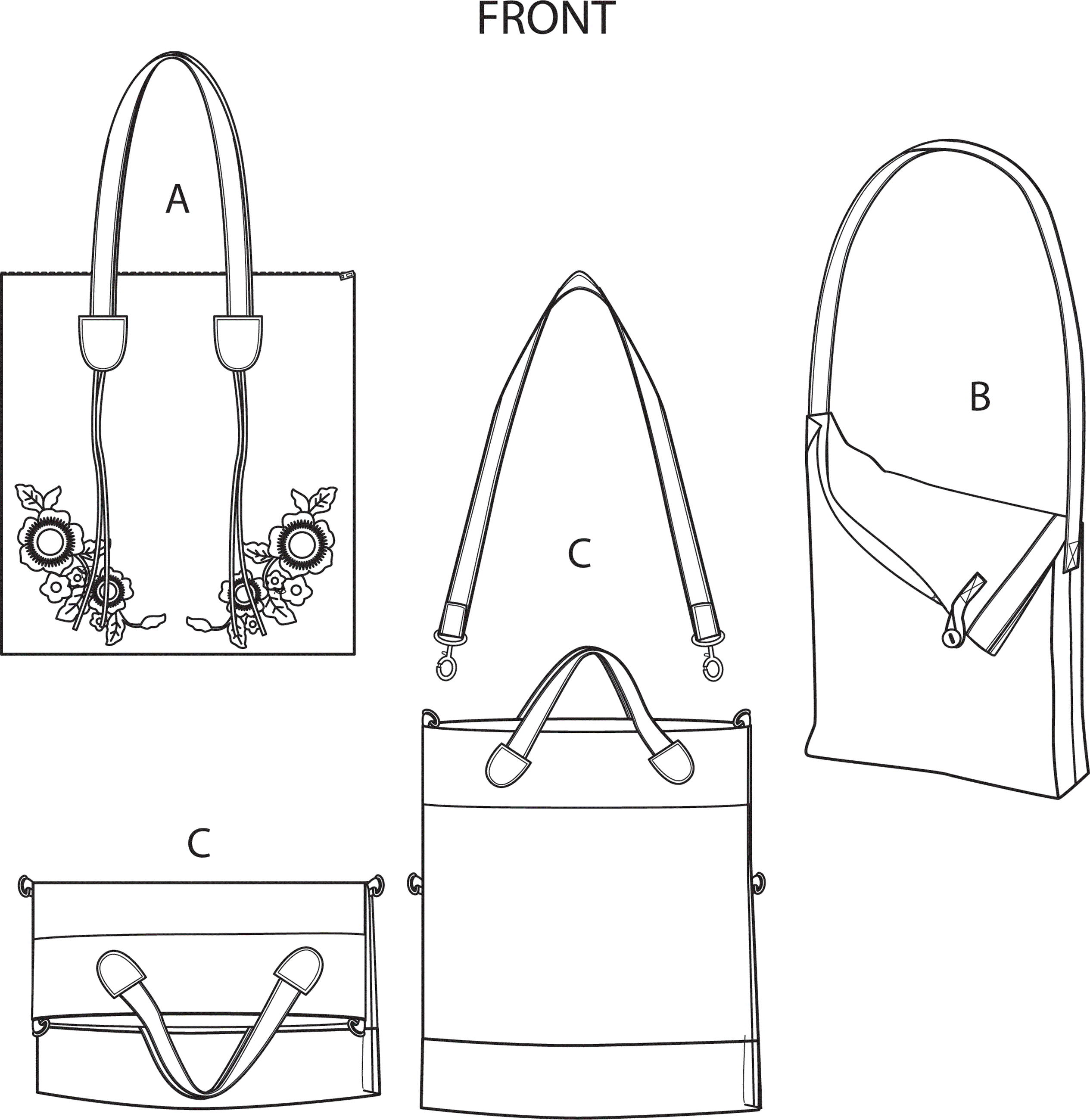 Simplicity Sewing Pattern S9029 Bags with Strap Variation 9029 Line Art From Patternsandplains.com
