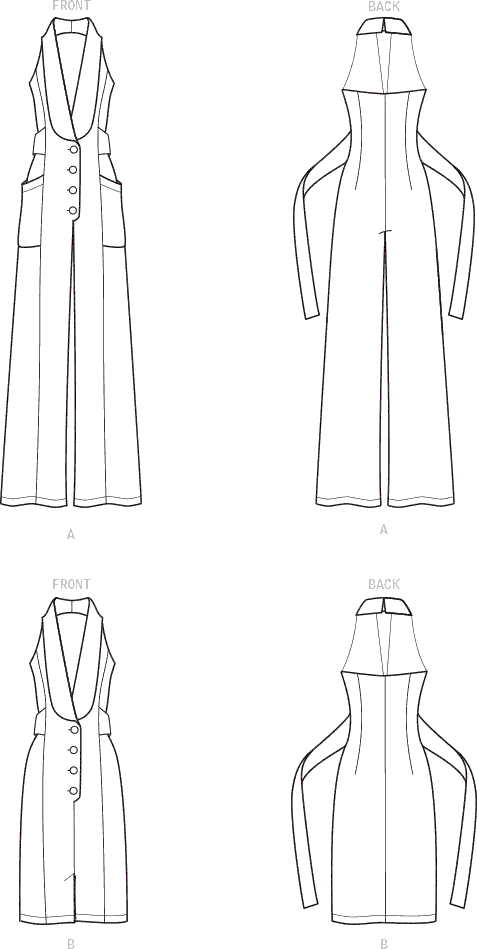 Simplicity Sewing Pattern S9097 Misses Dress and Jumpsuit 9097 Line Art From Patternsandplains.com