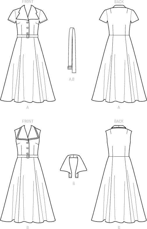 Simplicity Sewing Pattern S9105 Misses Vintage Dress With Detachable Collar 9105 Line Art From Patternsandplains.com