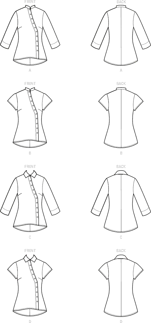 Simplicity Sewing Pattern S9106 Misses and Womens Button Front Shirt 9106 Line Art From Patternsandplains.com
