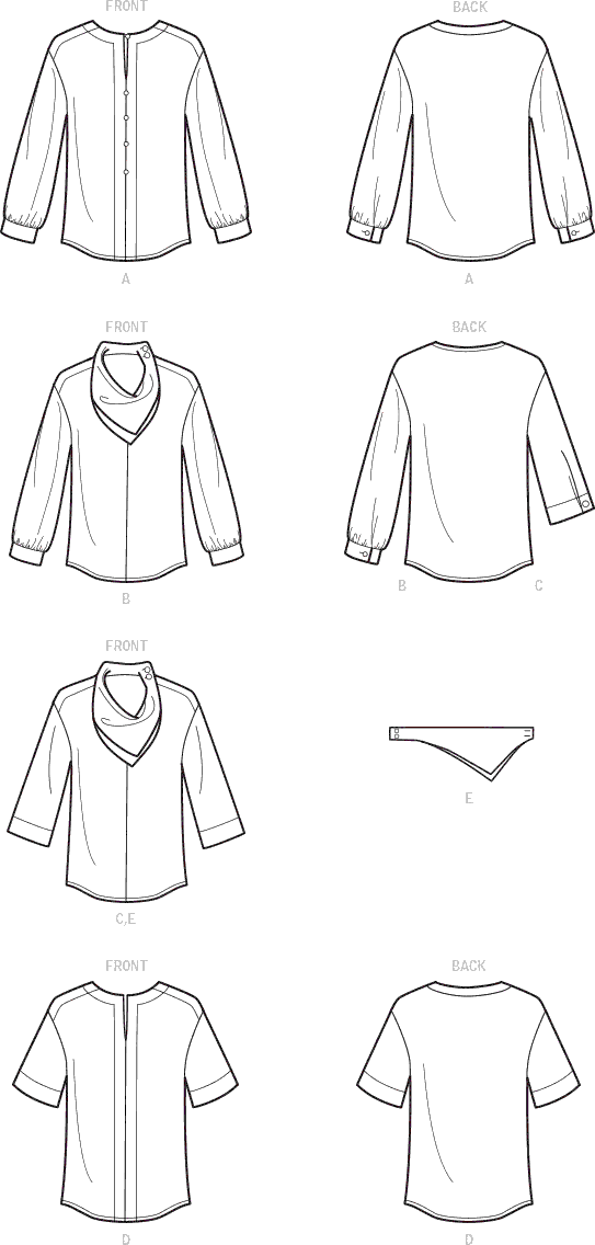 Simplicity Sewing Pattern S9108 Misses Tops With Sleeve Variation and Neck Scarf 9108 Line Art From Patternsandplains.com