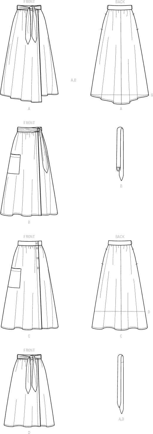 Simplicity Sewing Pattern S9109 Misses Wrap Skirts In Various Lengths With Tie Options 9109 Line Art From Patternsandplains.com