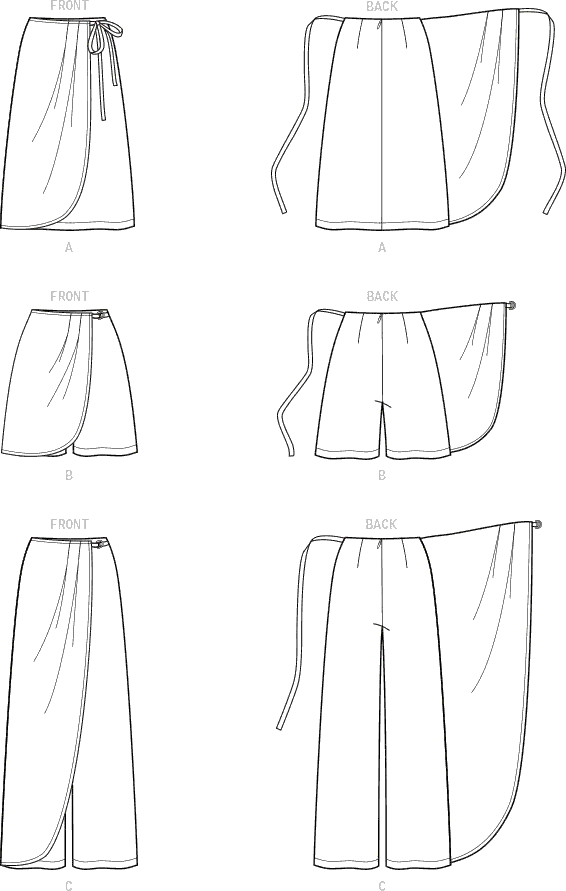 Simplicity Sewing Pattern S9111 Misses Faux Wrap Pants Skirt and Shorts 9111 Line Art From Patternsandplains.com