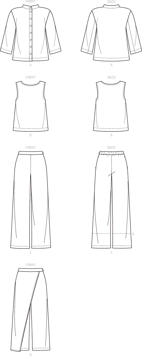 Simplicity Sewing Pattern S9112 Misses Button Down Top Shell and Pants 9112 Line Art From Patternsandplains.com