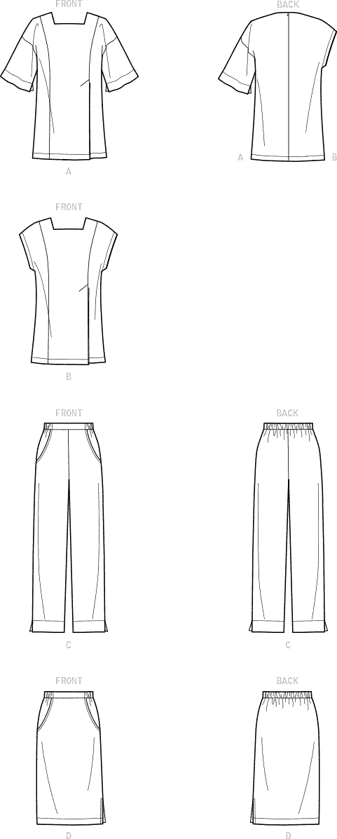 Simplicity Sewing Pattern S9115 Misses Skirts Pants and Tops With Sleeve Variation 9115 Line Art From Patternsandplains.com