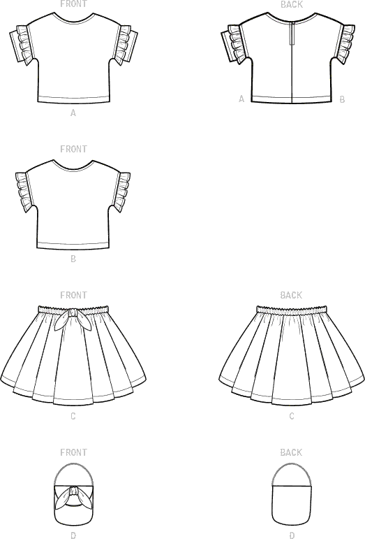 Simplicity Sewing Pattern S9118 Toddlers Tops Skirts and Purse 9118 Line Art From Patternsandplains.com