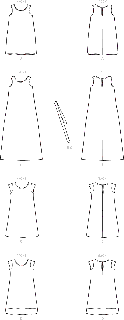 Simplicity Sewing Pattern S9120 Childrens and Girls Dresses 9120 Line Art From Patternsandplains.com