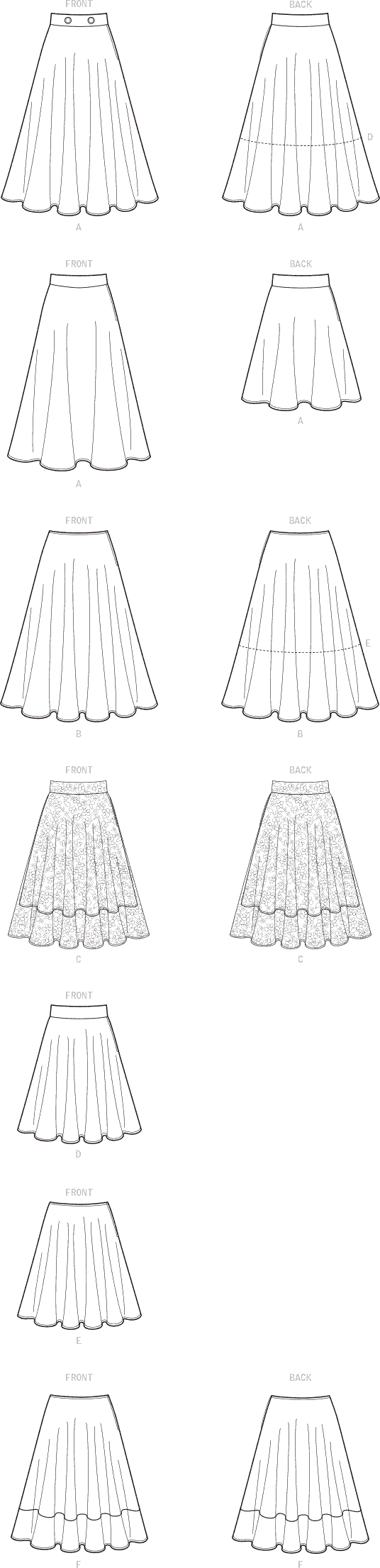 Simplicity Sewing Pattern S9123 Misses Skirts 9123 Line Art From Patternsandplains.com