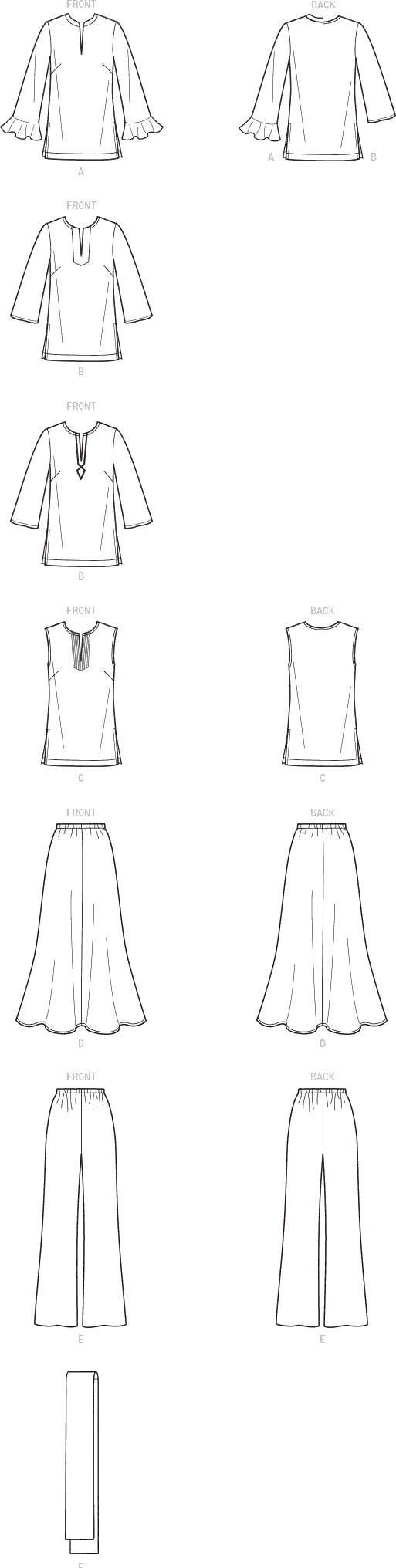 Simplicity Sewing Pattern S9130 Misses and Womens Tops and Bottoms 9130 Line Art From Patternsandplains.com