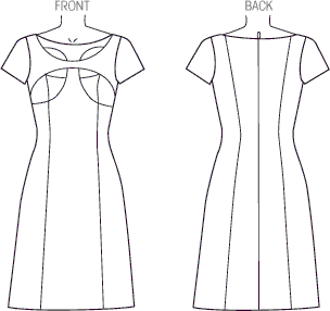 Vogue Pattern V1423 Misses Dress 1423 Line Art From Patternsandplains.com