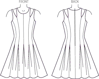 Vogue Pattern V1424 Misses Dress 1424 Line Art From Patternsandplains.com