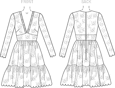 Vogue Pattern V1471 Misses Dress 1471 Line Art From Patternsandplains.com