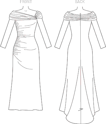 Vogue Pattern V1475 Misses Dress 1475 Line Art From Patternsandplains.com