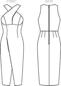 Vogue Pattern V1498 Misses Criss Cross Strap Dress 1498 Line Art From Patternsandplains.com