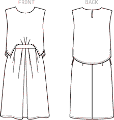 Vogue Pattern V1501 Misses Mock Tuck Pleated Dress 1501 Line Art From Patternsandplains.com