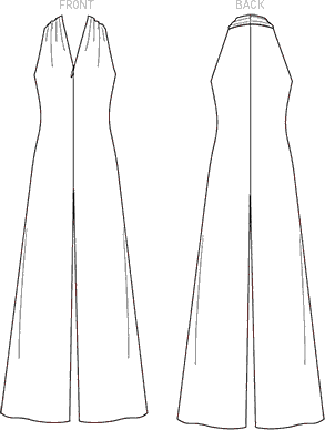 Vogue Pattern V1506 Misses Sleeveless Wide Leg Jumpsuit 1506 Line Art From Patternsandplains.com