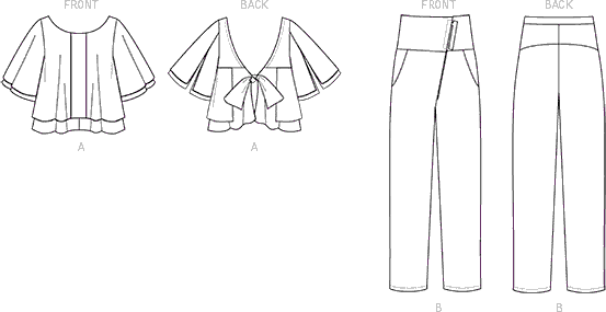 Vogue Pattern V1507 Misses Layered Back Tie Top and Asymmetrical Zip Pants 1507 Line Art From Patternsandplains.com