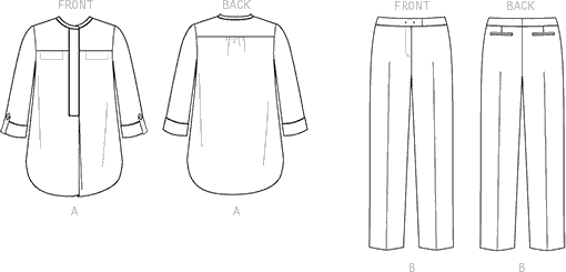 Vogue Pattern V1509 Misses Banded Tunic with Yoke and Tapered Pants 1509 Line Art From Patternsandplains.com