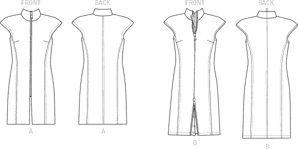 Vogue Pattern V1510 Misses Zip Front Tunic and Dress 1510 Line Art From Patternsandplains.com
