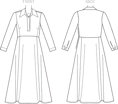 Vogue Pattern V1511 Misses Half Placket Long Sleeve Shirtdress 1511 Line Art From Patternsandplains.com