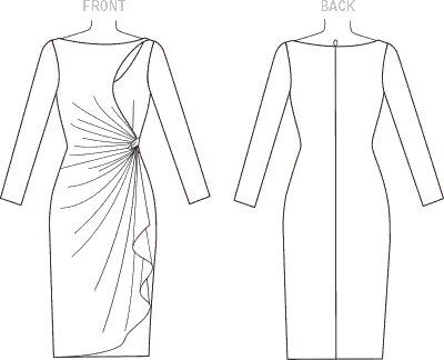 Vogue Pattern V1514 Misses Mock Wrap Cutout Dress 1514 Line Art From Patternsandplains.com