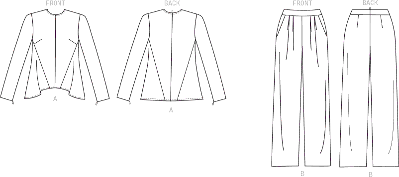 Vogue Pattern V1525 Misses Diagonal Seam Top and Pleated Pants 1525 Line Art From Patternsandplains.com