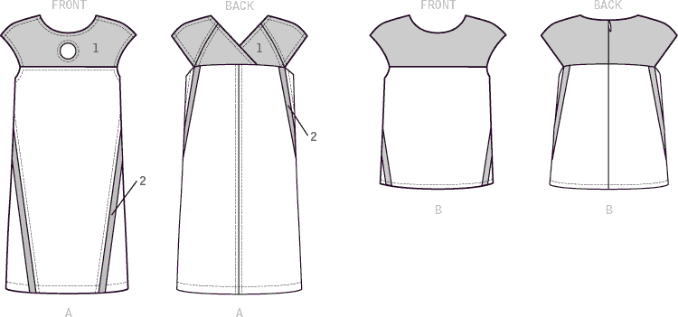 Vogue Pattern V1530 Misses Dress and Top with Yokes and Bands 1530 Line Art From Patternsandplains.com